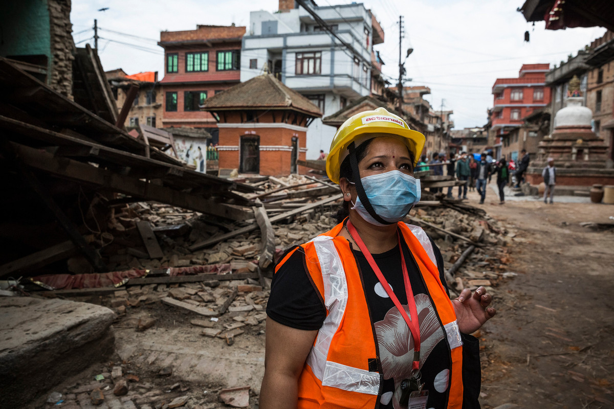 Nepal Earthquake 2015: Action Aid Nepal Women's Rights coordinator Malati Maskey amidst the devastation in Khokhana